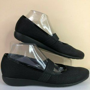 Munro Fran Black Textured Fabric Mary Jane Loafers